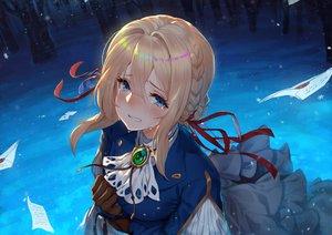 Rating: Safe Score: 120 Tags: aqua_eyes blonde_hair blush braids crying dress gloves long_hair paper raijuu_(bakanara) ribbons tears violet_evergarden violet_evergarden_(character) water User: RyuZU