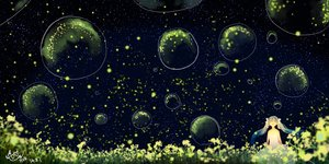 Rating: Safe Score: 117 Tags: bubbles dress flowers hatsune_miku hzrn_(ymj924) night stars twintails vocaloid User: FormX