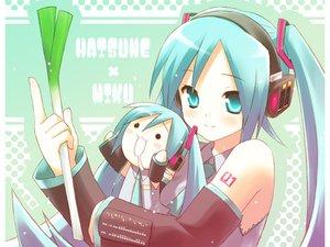 Rating: Safe Score: 59 Tags: aqua_eyes aqua_hair eretto hachune_miku hatsune_miku headphones leek twintails vocaloid User: korokun