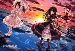 Rating: Safe Score: 81 Tags: bandage bicolored_eyes black_hair boots bow clouds date_a_live dress eyepatch garter gloves goth-loli gun headdress lolita_fashion long_hair pantyhose reflection ribbons sky sunset tokisaki_kurumi tsubasaki twintails watermark weapon User: RyuZU