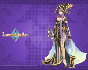 Rating: Safe Score: 26 Tags: blue_eyes book claire_(luminous_arc) dress elbow_gloves gloves hat logo long_hair luminous_arc mage purple purple_hair shibano_kaito watermark witch_hat User: atlantiza