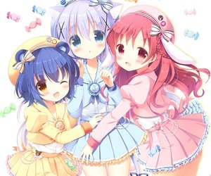 Rating: Safe Score: 36 Tags: animal_ears aono_ribbon aqua_eyes blue_hair blush bow bunny_ears candy catgirl cropped gochuumon_wa_usagi_desu_ka? gray_hair hat jouga_maya kafuu_chino loli lolita_fashion natsu_megumi red_eyes red_hair ribbons short_hair tail uniform waifu2x wink yellow_eyes User: otaku_emmy