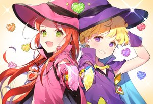 Rating: Safe Score: 38 Tags: 2girls azit_(down) blonde_hair blush cape chocolat_meilleure close fang flat_chest gloves gradient green_eyes hat heart long_hair necklace purple_eyes red_hair short_hair sugar_sugar_rune vanilla_mieux wand witch_hat User: RyuZU