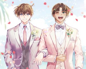 Rating: Safe Score: 3 Tags: all_male bow brown_hair cropped detective_conan flowers hattori_heiji joypyonn kudou_shinichi male petals shounen_ai suit tie wedding wedding_attire wink User: mattiasc02