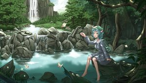 Rating: Safe Score: 79 Tags: blue_eyes blue_hair butterfly cloudy.r dress hat kawashiro_nitori leaves rainbow short_hair touhou tree water waterfall User: Flandre93