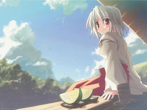 Rating: Safe Score: 26 Tags: clouds drink food fruit japanese_clothes miko red_eyes scan short_hair sky white_hair User: 秀悟