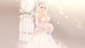 Rating: Safe Score: 161 Tags: aqua_eyes blonde_hair boku_wa_tomodachi_ga_sukunai breasts cait choker cleavage elbow_gloves flowers gloves headdress kashiwazaki_sena photoshop wedding_attire User: gnarf1975