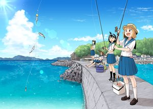 Rating: Safe Score: 25 Tags: animal clouds fish glasses houkago_teibou_nisshi kneehighs long_hair ponytail scenic school_uniform short_hair skirt sky tagme_(artist) tagme_(character) water User: RyuZU
