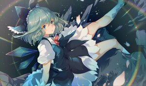 Rating: Safe Score: 15 Tags: azusa0v0 blue_eyes blue_hair cirno dress fairy rainbow touhou wings User: SirArgus