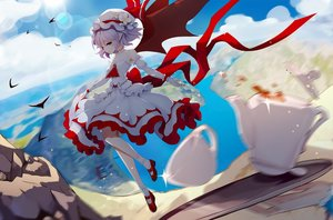 Rating: Safe Score: 56 Tags: clouds dress drink hat leidami pointed_ears purple_eyes red_eyes remilia_scarlet ribbons short_hair sky socks touhou vampire wings User: RyuZU
