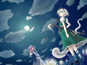 Rating: Safe Score: 48 Tags: dress flowers gray_hair green_eyes jpeg_artifacts konpaku_youmu myon pink_hair saigyouji_yuyuko short_hair sky sword touhou weapon white_hair User: Quaver