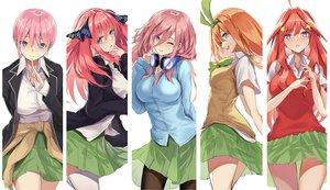 Rating: Safe Score: 103 Tags: aqua_eyes augu_(523764197) go-toubun_no_hanayome headphones nakano_ichika nakano_itsuki nakano_miku nakano_nino nakano_yotsuba orange_hair pantyhose pink_hair red_hair ribbons seifuku short_hair skirt thighhighs white wink User: RyuZU