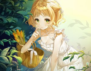 Rating: Safe Score: 81 Tags: blonde_hair blush bow breasts cleavage dress flowers green_eyes kinty leaves original ribbons short_hair summer_dress User: otaku_emmy