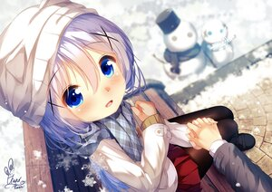Rating: Safe Score: 26 Tags: aqua_eyes blush chinomaron close gochuumon_wa_usagi_desu_ka? hat kafuu_chino scarf signed snow snowman User: あかり