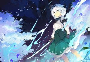 Rating: Safe Score: 92 Tags: bow gloves green_eyes headband katana konpaku_youmu rin_falcon shirt short_hair skirt sword touhou weapon white_hair User: Dreista