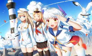 Rating: Safe Score: 22 Tags: animal anthropomorphism aqua_eyes bird blonde_hair braids brown_hair clouds fang hat ji_dao_ji le_fantasque lexington lighthouse long_hair petals saratoga seifuku shorts skirt sky thighhighs white_hair wristwear yellow_eyes zhanjian_shaonu User: RyuZU