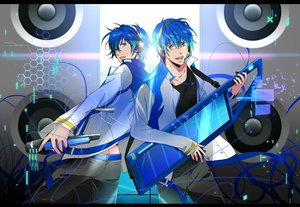 Rating: Safe Score: 20 Tags: all_male blue_hair kaito male microphone okiku vocaloid User: RyuZU