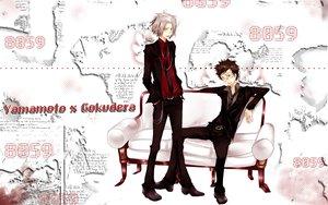 Rating: Safe Score: 19 Tags: all_male couch gokudera_hayato jpeg_artifacts katekyou_hitman_reborn male yamamoto_takeshi User: mikucchi