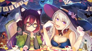 Rating: Safe Score: 63 Tags: 2girls animal animal_ears bat brat breasts candy catgirl cleavage cross drink elbow_gloves food glasses gloves halloween hat higuchi_kaede long_hair moon night nijisanji pumpkin purple_eyes red_hair roboco_ch. roboco-san sky white_hair witch witch_hat yellow_eyes User: BattlequeenYume