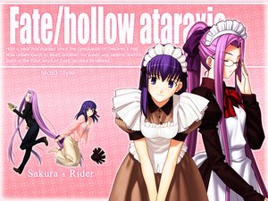 Rating: Safe Score: 21 Tags: apron blush book bow fate/hollow_ataraxia fate_(series) fate/stay_night glasses headdress long_hair maid matou_sakura ponytail purple_eyes purple_hair ribbons rider type-moon User: Oyashiro-sama
