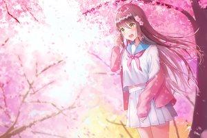 Rating: Safe Score: 30 Tags: blush brown_hair cherry_blossoms flowers kubong long_hair original petals seifuku skirt tree yellow_eyes User: RyuZU