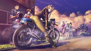 Rating: Safe Score: 150 Tags: aa_megami-sama belldandy blonde_hair blue_eyes boots brown_eyes brown_hair clouds gloves group long_hair morisato_keiichi morisato_megumi motorcycle short_hair signed skuld sky socha_(socha00) urd User: FormX