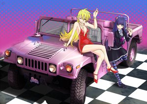 Rating: Safe Score: 64 Tags: blonde_hair blue_eyes blue_hair car green_eyes panty_&_stocking_with_garterbelt panty_(character) raybar see_through_(jeep) stocking_(character) thighhighs User: Mhand16