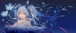 Rating: Safe Score: 57 Tags: aqua_hair choker flowers fre hatsune_miku long_hair petals pink_eyes ribbons twintails vocaloid User: Maboroshi
