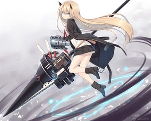 Rating: Safe Score: 78 Tags: aqua_eyes blonde_hair boots cropped horns long_hair original poco school_uniform skirt watermark weapon User: RyuZU