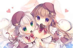 Rating: Safe Score: 44 Tags: 2girls animal_ears blonde_hair bow braids breasts brown_hair bunny_ears bunnygirl candy chocolate cleavage doggirl dress green_eyes hat heart long_hair maid original purple_eyes tail valentine waifu2x wristwear yukie User: otaku_emmy