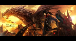 Rating: Safe Score: 176 Tags: all_male black_hair clouds dragon horns kzcjimmy male original pixiv_fantasia ponytail red_eyes User: opai