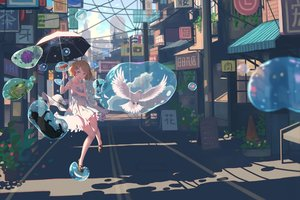 Rating: Safe Score: 88 Tags: animal bird blue_eyes brown_hair building butterfly cat city dress fish frog original short_hair summer_dress umbrella vofan water User: gnarf1975