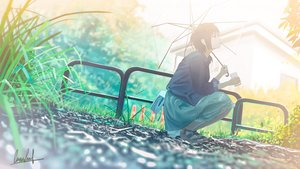 Rating: Safe Score: 77 Tags: banishment grass original scenic short_hair signed skirt umbrella User: Dreista