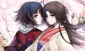 Rating: Safe Score: 37 Tags: aqua_eyes black_hair japanese_clothes kara_no_kyoukai knife long_hair petals ryougi_shiki signed yui_(kawalcjil4) User: RyuZU