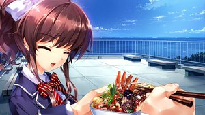 Rating: Safe Score: 40 Tags: bow brown_hair clouds food game_cg hanamiya_nagisa kuroya_shinobu ponytail rooftop school_uniform sky trumple ushinawareta_mirai_wo_motomete water User: Tensa