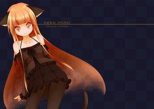 Rating: Safe Score: 176 Tags: animal_ears beigu catgirl cat_smile long_hair orange_eyes orange_hair original pantyhose skirt tail User: Tensa