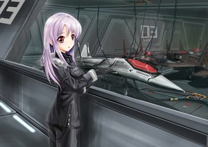 Rating: Safe Score: 185 Tags: aircraft combat_vehicle gloves lita_(keyboard000) long_hair military original purple_hair red_eyes uniform User: Nnyuu