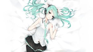 Rating: Safe Score: 53 Tags: apple_pie aqua_eyes aqua_hair gloves hatsune_miku last_night_good_night_(vocaloid) long_hair skirt thighhighs tie twintails vocaloid User: luckyluna