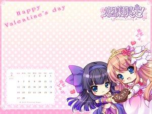 Rating: Safe Score: 8 Tags: 2girls blue_eyes calendar chibi dress flowers headband heart himesama_gentei! kousaka_serina long_hair rose tagme tiara valentine User: oranganeh