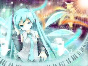 Rating: Safe Score: 67 Tags: aqua_eyes aqua_hair hatsune_miku kagamine_rin twintails vocaloid wings User: Oyashiro-sama