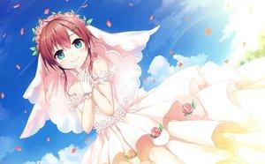 Rating: Safe Score: 68 Tags: aqua_eyes clouds cura dress flowers game_cg gloves headdress lose maitetsu migita_hibiki rainbow red_hair sky tree wedding_attire User: mattiasc02