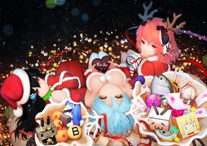 Rating: Safe Score: 102 Tags: animal anthropomorphism black_hair blue_hair breasts bunny candy cat_smile chocolate christmas cleavage disgaea dragonball fish hat heart horns kantai_collection lollipop nooko original pink_hair rensouhou-chan ribbons santa_costume santa_hat thighhighs User: Flandre93
