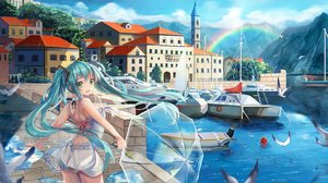 Rating: Safe Score: 272 Tags: animal bird blue_hair boat breasts building choker city dress green_eyes hatsune_miku landscape l.bou long_hair rainbow scenic see_through sideboob summer_dress twintails umbrella vocaloid water User: luckyluna