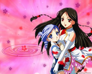 Rating: Safe Score: 15 Tags: 2girls black_hair gloves kanasaki_takaomi kiddy_grade lumiere pink purple_eyes purple_hair red_eyes tweedledee User: Oyashiro-sama