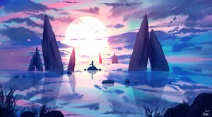 Rating: Safe Score: 67 Tags: landscape long_hair original reflection ryky scenic signed sky sunset tail User: BattlequeenYume