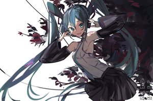 Rating: Safe Score: 30 Tags: aonogura blue_eyes blue_hair hatsune_miku headphones long_hair microphone polychromatic tattoo thighhighs tie twintails vocaloid User: RyuZU