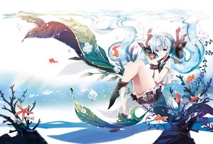 Rating: Safe Score: 154 Tags: animal bottle_miku bubbles fish hatsune_miku rednian seifuku skirt socks twintails underwater vocaloid water wristwear User: FormX