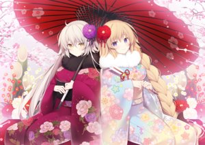 Rating: Safe Score: 97 Tags: blonde_hair braids fate/grand_order fate_(series) flowers japanese_clothes jeanne_d'arc_alter jeanne_d'arc_(fate) kimono long_hair miko_92 purple_eyes umbrella white_hair yellow_eyes User: BattlequeenYume