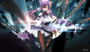 Rating: Safe Score: 78 Tags: genshin_impact keqing_(genshin_impact) long_hair mitu_yang pantyhose purple_hair signed skirt_lift User: BattlequeenYume