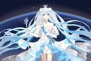 Rating: Safe Score: 48 Tags: aqua_eyes aqua_hair bow choker crown dress elbow_gloves gloves hatsune_miku long_hair necklace rainbow ribbons staff tagme_(artist) twintails vocaloid watermark wristwear yuki_miku User: luckyluna